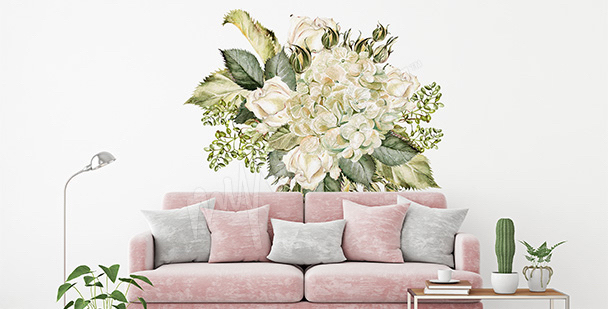 Adesivo buquê de rosas brancas