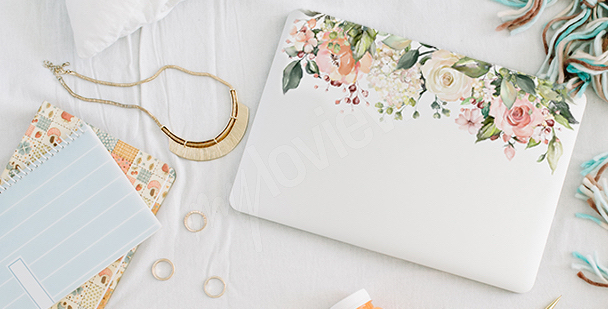 Adesivo floral para notebook
