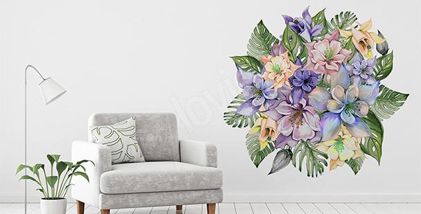 Adesivo flores e folhas