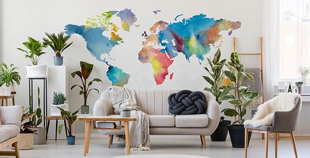 Adesivo mapa-múndi em aquarela