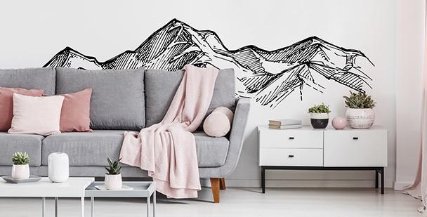 Adesivo monocromático com montanhas