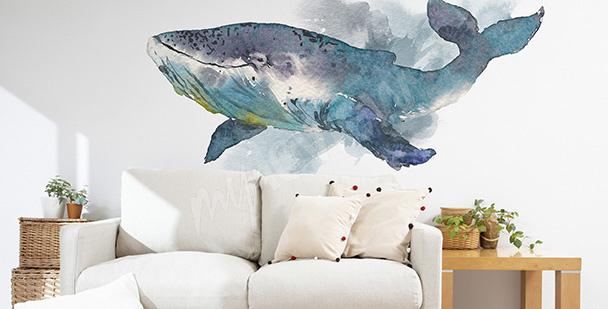 Adesivo para a sala com uma baleia