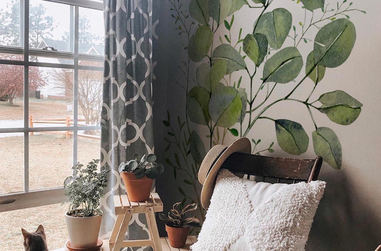 Adesivo folhas de eucalipto