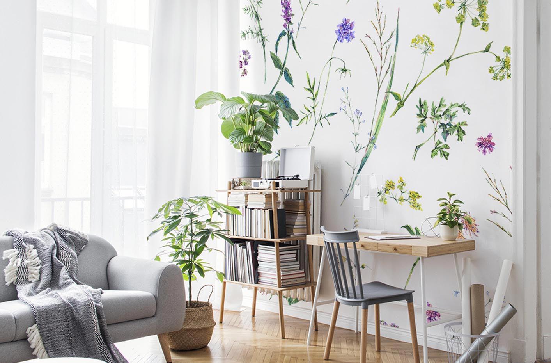 Papel de parede flores e ervas
