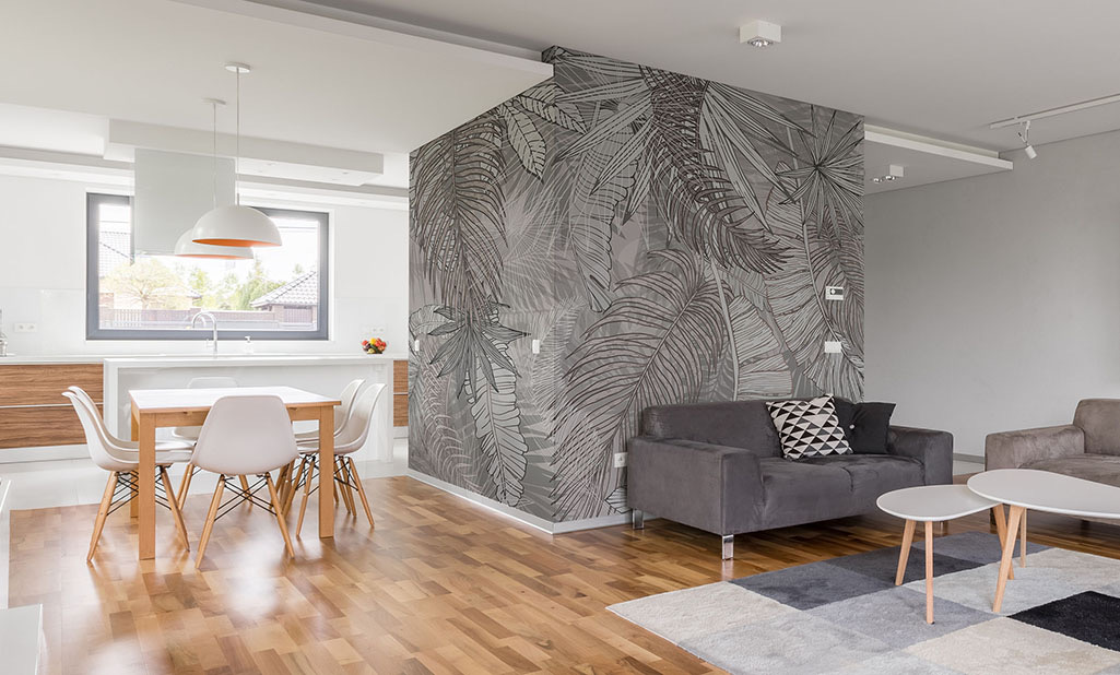 Papel de parede folhas cinza