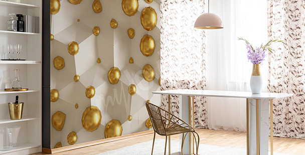 Papel de parede 3D pérolas amarelas