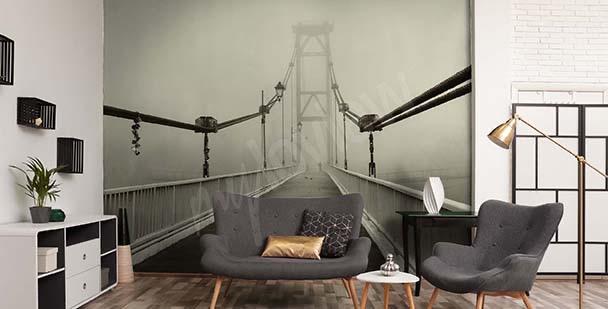 Papel de parede 3D ponte no nevoeiro