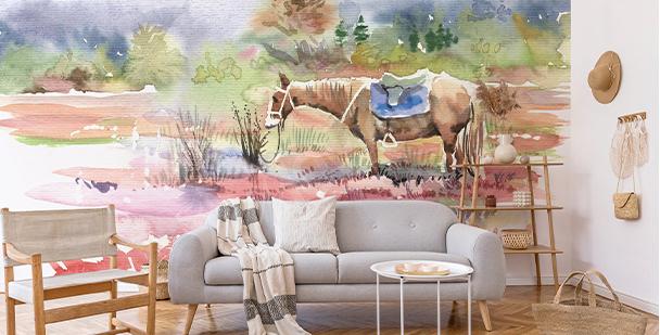 Papel de parede com cavalo em aquarela