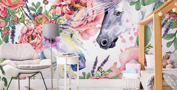 Papel de parede em estilo floral