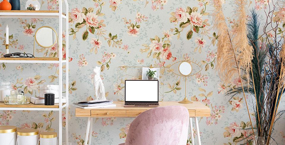 Papel de parede flores românticas