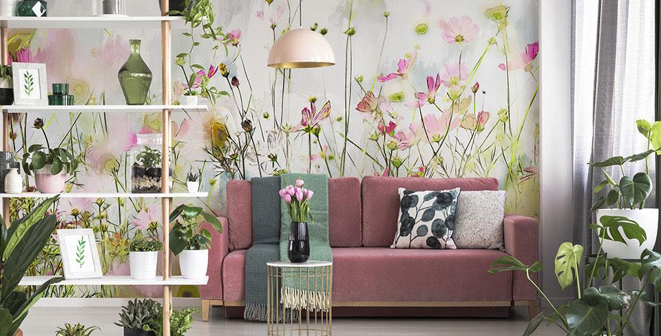Papel de parede prados floridos
