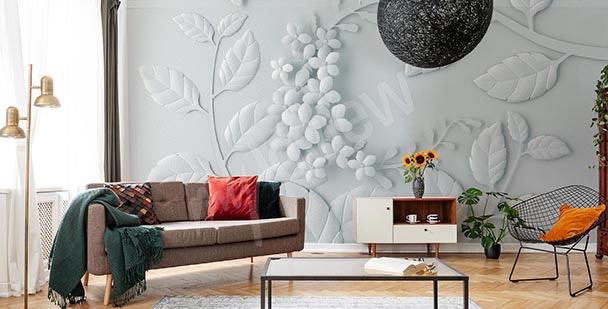 Papel de parede tridimensional - folhas