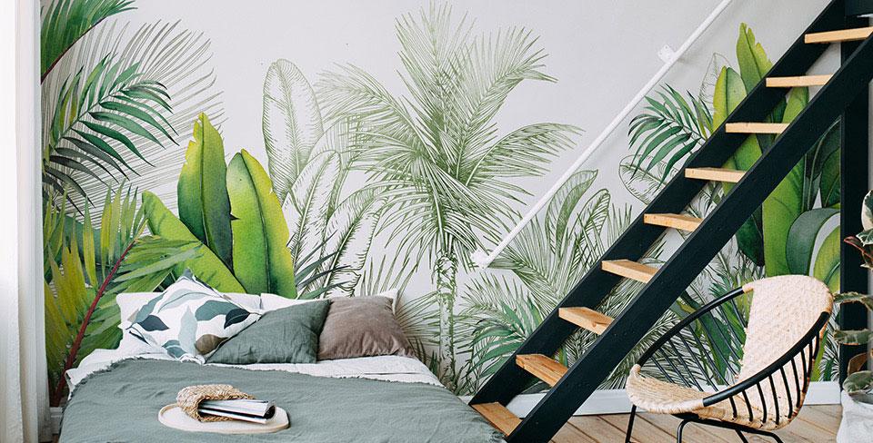 Papel de paredes folhas e palmeiras