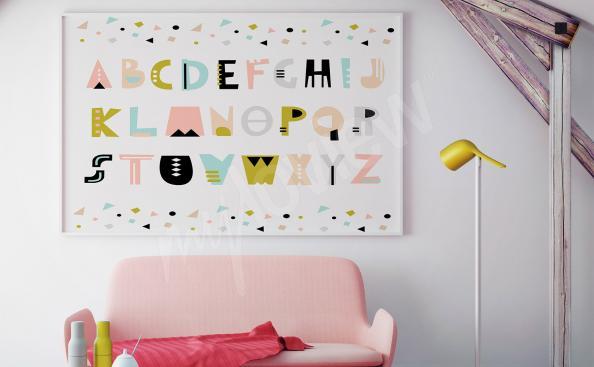 Pôster alfabeto para quarto de criança