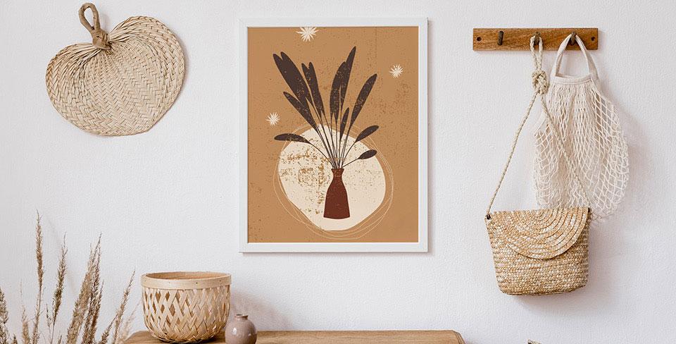Pôster de grama num vaso