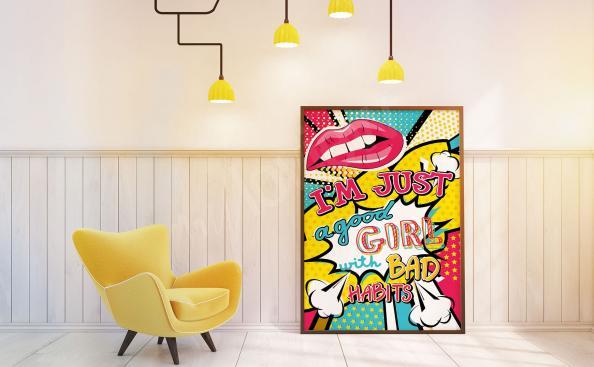 Pôster de pop art para meninas