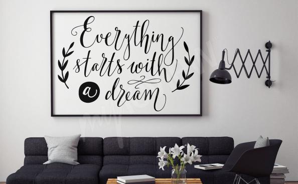 Pôster inscrições em preto e branco para a sala