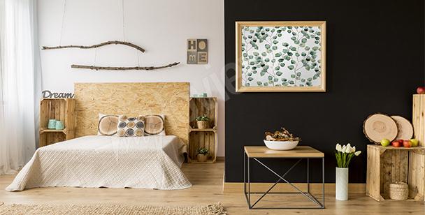 Pôster para o quarto com folhas