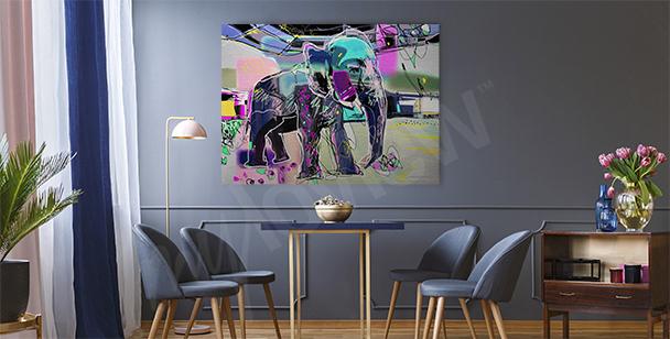 Quadro abstrato de um elefante