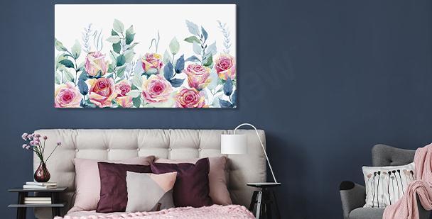 Quadro de parede com rosas
