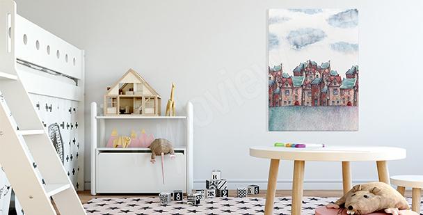 Quadro em aquarela cidade