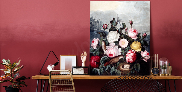 Quadro expressivo floral style