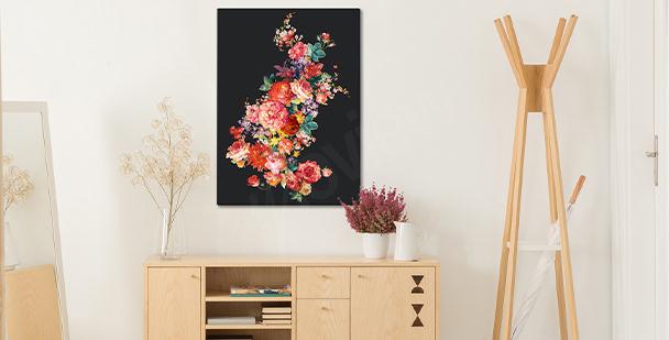 Quadro floral sobre fundo escuro