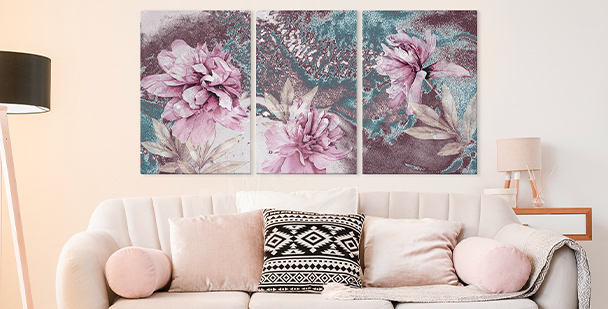 Quadro floral style - tríptico