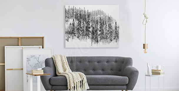 Quadro floresta preto e branco