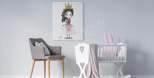 Quadro menina com uma coroa