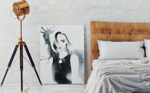 Quadro mulher em aquarela