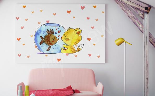 Quadro para quarto de criança peixe e gato