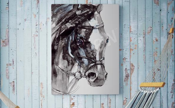 Quadro rústicas com um cavalo