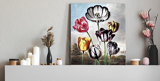Quadro vintage com tulipas