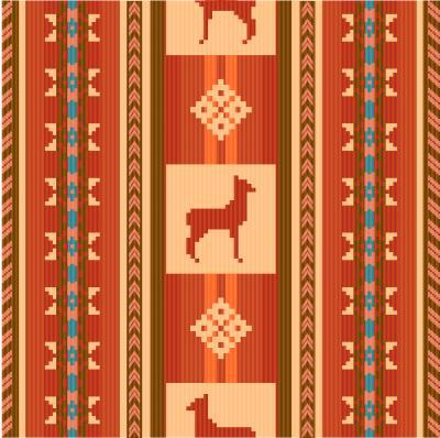 Fotomural Padrão de tecido étnico ornamental com lamas